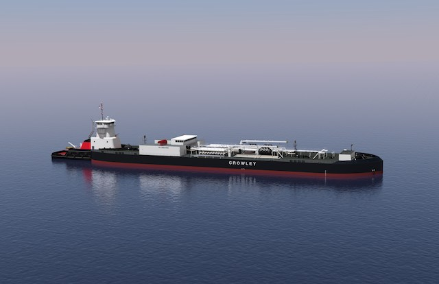 Alaska-class 100,000-bbl. ATB for Crowley will be built by Bollinger. Rendering courtesy of Jensen Maritime