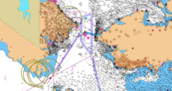 A new system of two-way shipping routes for the Bering Sea and Bering Strait is proposed by the U.S. and Russia. Chart shows the strait between Alaska, right, and Russia's Chukotskiy Peninsula. International Maritime Organization image.
