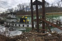 The towboat Gate City sank at its mooring near mile market 8 on the Big Sandy River near Butler, W.Va., Jan. 10. 2018. Coast Guard photo.
