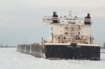 The 304' motor vessel Indiana Harbor was stuck in ice on the St. Clair River before being freed by the Coast Guard icebreaker tug Neah Bay Jan. 2, 2018. Coast Guard photo.