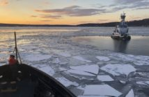 The Coast Guard icebreaker tug Penobscot Bay assists the tug Stephanie Dann on the Hudson River Jan. 2, 2018. Coast Guard photo/PO3 Steven Strohmaier.