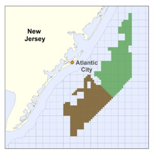 Ørsted and U.S. Wind hold federal leases that position them for building major offshore wind power arrays off New Jersey. BOEM image.