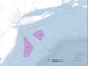 """New York State officials outline more than 1 million acres as the """"area for consideration"""" to build up to 2.4 gigawatts of wind farm capacity. NYSERDA image."""