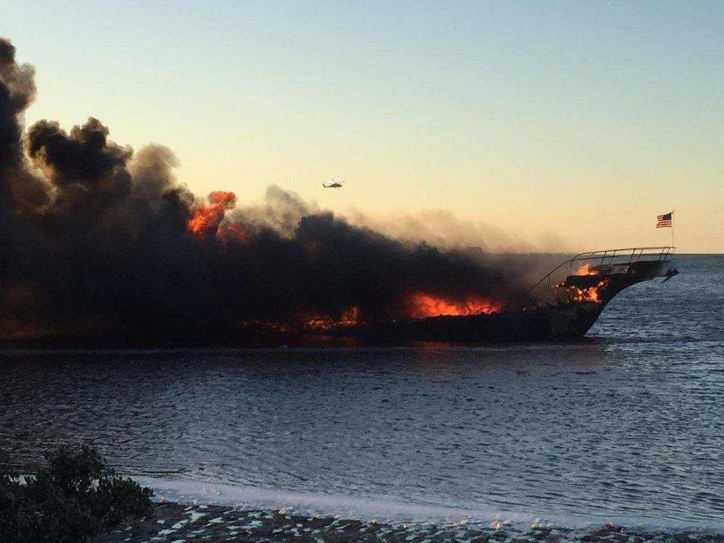 A casino shuttle boat burned off Port Richey, Fla., Jan. 14, 2018. Pasco County Sheriff's Department photo.