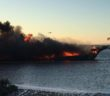 A casino shuttle boat burned off Port Richey, Fla., Jan. 14, 2018. Pasco County Sheriff's Department photo.