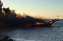 The Island Lady burned off Port Richey, Fla., Jan. 14, 2018. Pasco County Sheriff's Department photo.