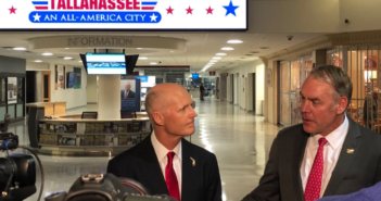 Florida Gov. Rick Scott, left, and and Interior Secretary Ryan Zinke spoke to reporters after their Jan. 9 meeting at Tallahassee International Airport. Department of Interior photo.