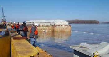 Coast Guard Sector Lower Mississippi River and local agencies are responding to a sunken vessel discharging oil near mile marker 823 on the Lower Mississippi River near Blytheville, Ark., Jan. 24. Coast Guard photo.