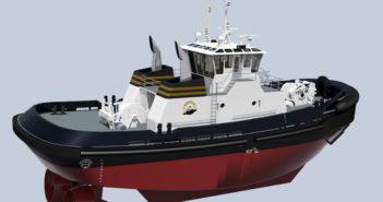 New Jensen-designed Z-drive tug for Baydelta Maritime. Rendering courtesy of Jensen Maritime