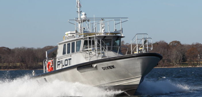 With a draft of 4.8', the all-aluminum pilot boat features the C. Raymond Hunt-designed deep-V hull. Gladding-Hearn Shipbuilding photo