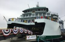 The christening marks the 1,500-passenger, 144 car Suquamish's final stage of construction and its preparation for sea trials. Washington State Ferries photo