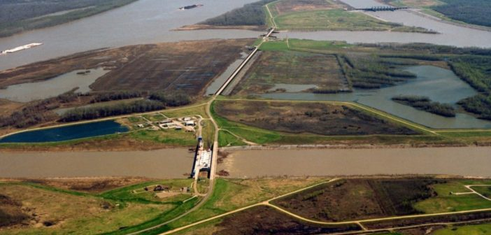 The control structures at Old River. with the Mississippi River to the left. A new study finds that sediment building up in the river bottom could trigger a breakthrough near the structures, and redirect the river flow into the Atchafalaya Basin.