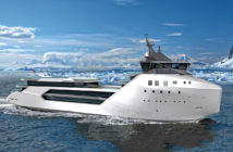 The expedition yacht Kilkea is based on Vard's ice-capable PSV design. Edmiston Yachts rendering.