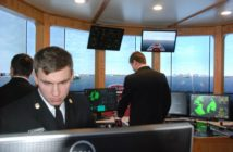 SUNY Maritime students training on the college's tug and barge simulator. Kirk Moore photo.