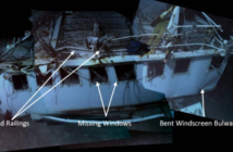 The bridge deck on the wreck of the El Faro, with damage notations from the National Transportation Safety Board final report. NTSB photo.