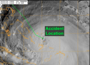A satellite image of Hurricane Joaquin on Oct. 1, 2015, showing the course of the El Faro. NTSB image.