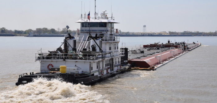 A Kirby tank barge tow on the Lower Mississippi River. Photo by David Krapf