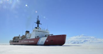 The Coast Guard Cutter Polar Star breaks ice in McMurdo Sound near Antarctica on Saturday, Jan. 13, 2018. Coast Guard photo/CPO Nick Ameen.