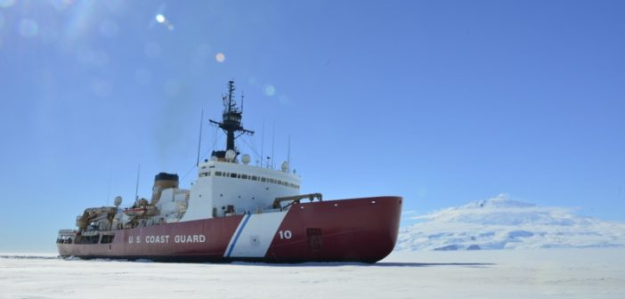 The Coast Guard Cutter Polar Star breaks ice in McMurdo Sound near Antarctica on Saturday, Jan. 13, 2018. Coast Guard photo/CPO Nick Ameen.