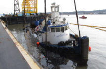The tugboat Specialist was raised after the March 2016 sinking in the Hudson River that killed three crew members. Coast Guard photo.