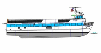 The new 85' vessel will be the 10th boat Blount has built for Fire Island Ferries. Blount Boats rendering