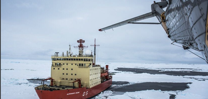 The Argentine Navy icebreaker Almirante Irizar launched an operation Monday to recover U.S. scientists from an island in Antarctica. Cancilleria Argentina photo.