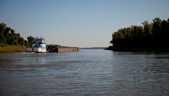 A towboat and barges on the Atchafalaya River. Terral River Service photo.