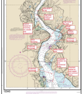 A chart from the Hudson River PAWSA report shows environmental, navigation and other concerns along a section of the river from Haverstraw to West Point. Coast Guard image.