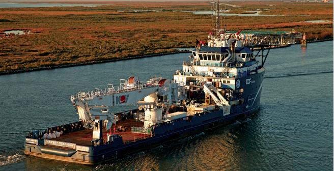 The offshore service vessel Harvey Deep-Sea in Louisiana. LSU photo.