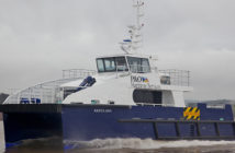 An Incat Crowther-designed crew transfer vessel built for the North Sea wind industry. Gladding-Hearn said it could build similar vessels for wind farms off Massachusetts. Lyme Boats photo.