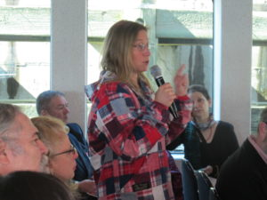 Paddler Margo Pellegrino speaks at the New York Shared Harbor conference March 24. Betsy Frawley Haggerty photo.