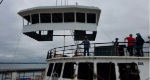 A new pilothouse was part of a $17 million upgrade for the ferry Martha's Vineyard. Steamship Authority photo.