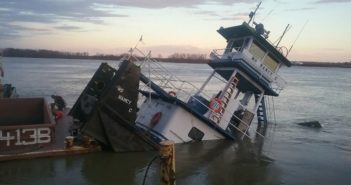 The sunken towing vessel Ms Nancy Cl was building a tow at a fleeting area when it began taking on water at mile marker 832 of Everett Lake near Dyersburg, Tennessee. Coast Guard photo/PO3 Lora Ratliff.