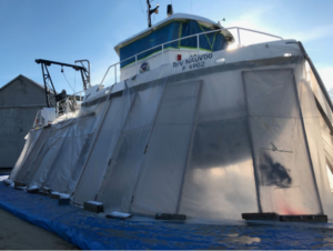 The Nauvoo got a bottom blasting and new paint at the Yank Marine yard in Dorechester, N.J. Monmouth University photo.