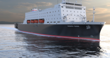 A rendering of the national security multi-mission vessel to replace aging maritime training ships. SUNY Maritime image.