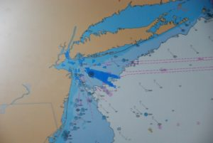 A chart on the simulator deck shows the location of the proposed Statoil wind array off New York. Kirk Moore photo.