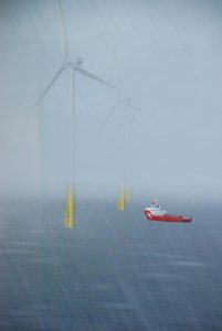 The Kongsberg wind farm simulator program includes a scene with a turbine service vessel working in the array outside New York Harbor. Kirk Moore photo.