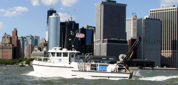 The research vessel Nauvoo in New York Harbor. NOAA photo.