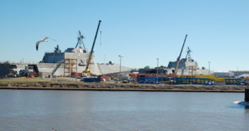 The LCS program is at full rate production and is continuing its momentum at Austal USA with several ships currently under construction. Ken Hocke photo