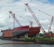 Dredge at Eastern Shipbuilding Group in 2016 was listed as under construction in last year's survey and listed as delivered in this year's survey. Ken Hocke photo