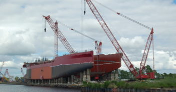 A dredge underway at Eastern Shipbuilding Group in 2016. Ken Hocke photo