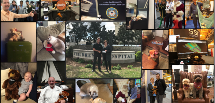 """Jason Higgins, Genoa Design International, presented a $2,000 check from the """"Adopt a GenoaBear"""" initiative to Alicia Frank at the Children's Hospital of New Orleans (middle photo). Pictures of adopted GenoaBears surround. Genoa photo"""