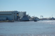 An LCS sits dockside at Austal USA in Mobile, Ala. Ken Hocke photo