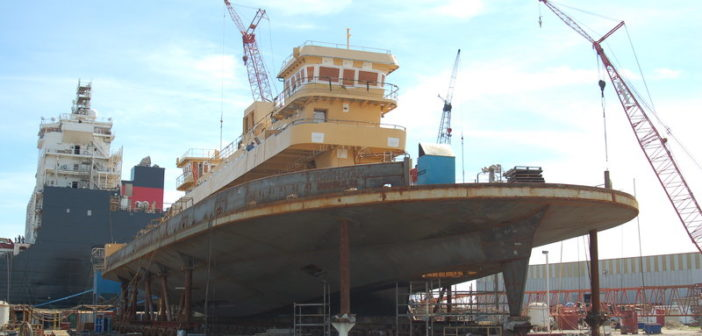 New ferry for the Virginia DOT under construction in Pascagoula, Miss., will be delivered in July. Ken Hocke photo