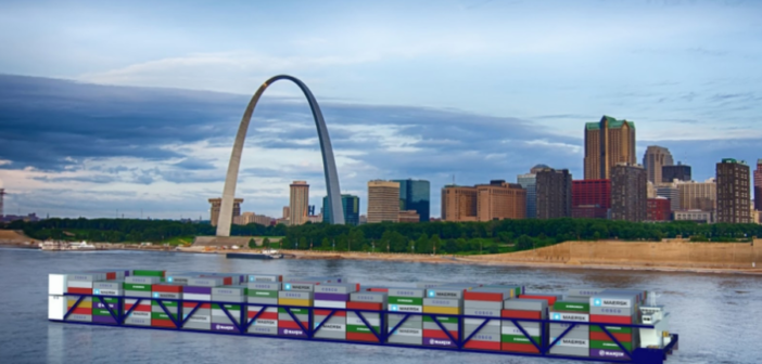A rendering of what a planned inland container vessel would look like on the Mississippi River at St. Louis. American Patriot Holdings image.