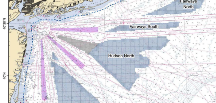 In December 2016 BOEM issued the first wind energy lease in the New York Bight, portrayed here as a gray triangle between purple traffic separation lanes. BOEM image.