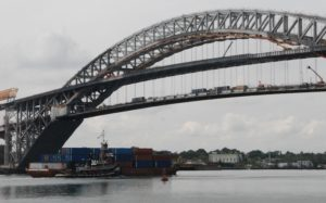 Containers on a barge inbound to Port Newark, N.J., through the Kill Van Kull under the Bayonne Bridge. Kirk Moore photo