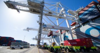 Pier J at the Port of Long Beach is one of three sites for a year-long test of zero emissions cargo equipment. Port of Long Beach photo.