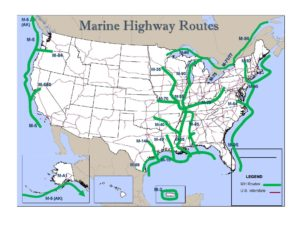 The Marine Highway Program provides planning assistance and funding to expand use of U.S. navigable waterways to relieve landside congestion, reduce air emissions and provide new transportation options. Marad image