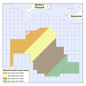 The Bureau of Ocean Energy Management plans to offer two more leases for offshore wind development (brown and green shaded areas at right) south of Martha's Vineyard. BOEM image.